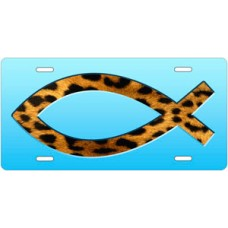 Cheetah Ichthus on Light Blue License Plate