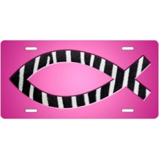 Zebra Ichthus on Pink License Plate