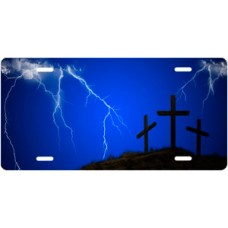 Three Crosses and Lightning on Blue License Plate
