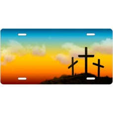 Three Crosses on Full Color License Plate