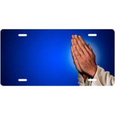 Praying Hands on Blue Offset License Plate