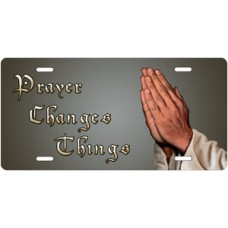 Prayer Changes Things Praying Hands on Gray Offset License Plate