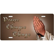 Prayer Changes Things Praying Hands on Mocha Offset License Plate