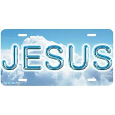 Jesus on Blue Clouds Airbrushed License Plate