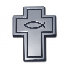 Cross and Fish Black and Chrome Emblem