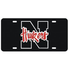 N HUSKERS - Black License Plate