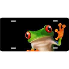 Tree Frog on Black Offset License Plate