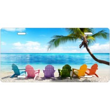 Chairs On Beach Scenic License Plate