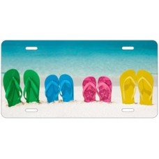 Flip Flops On Beach Scenic License Plate