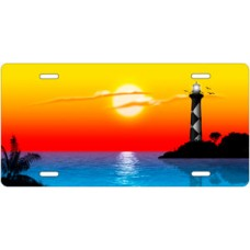 Yellow and Orange Beach Lighthouse License Plate