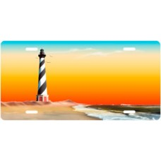 Full Color Beach Lighthouse License Plate