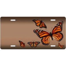 Butterflies on Mocha Offset License Plate