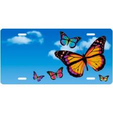 Butterflies on Blue Sky Offset License Plate