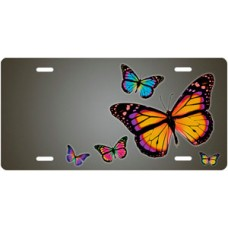 Butterflies on Gray Offset License Plate