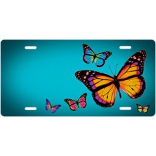 Butterflies on Teal Offset License Plate