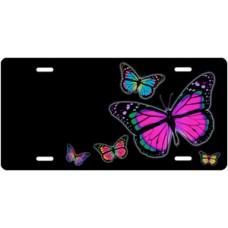 Butterflies on Black Offset License Plate