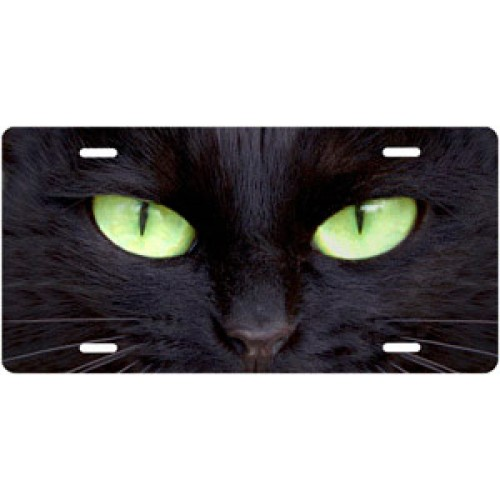 Black Cat with Green Eyes License Plate
