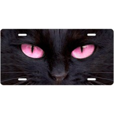 Black Cat with Pink Eyes License Plate