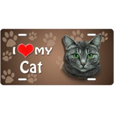 I Love My Cat (Grey Tabby) on Paw Prints License Plate