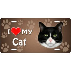 I Love My Cat on Paw Prints License Plate