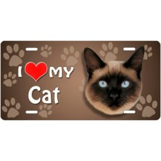 I Love My Cat (Siamese) on Paw Prints License Plate