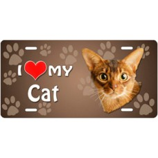 I Love My Cat (Abyssinian) on Paw Prints License Plate
