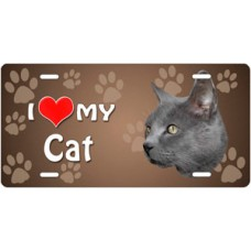 I Love My Cat (Russian Blue) on Paw Prints License Plate