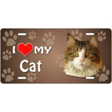I Love My Cat (Main Coon) on Paw Prints License Plate