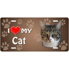 I Love My Cat (Grey and White Tabby) on Paw Prints License Plate