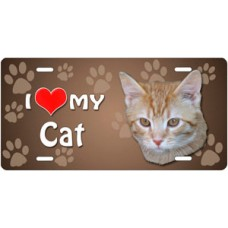 I Love My Cat (Orange and White Tabby) on Paw Prints License Plate
