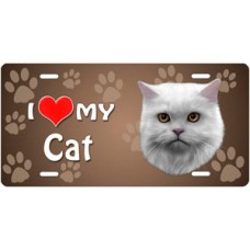 I Love My Cat (White Persian) on Paw Prints License Plate