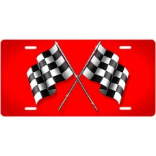 Checkered Flags on Red License Plate