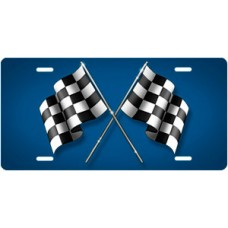 Checkered Flags on Blue License Plate