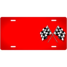 Checkered Flags on Red Offset License Plate