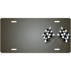 Checkered Flags on Gray Offset License Plate