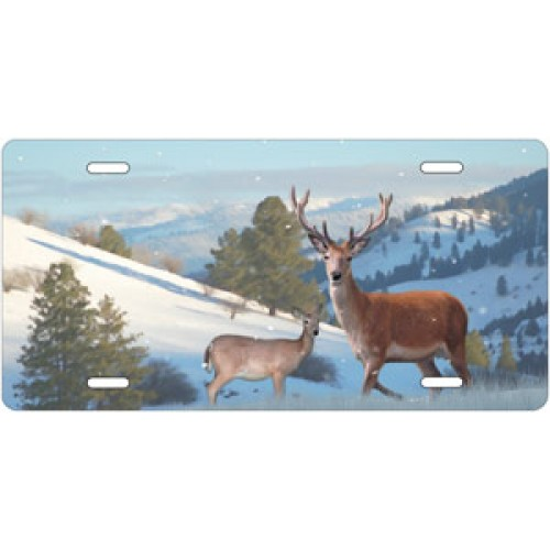 Felt Antler Deer in Winter License Plate