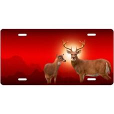 Deer on Red License Plate