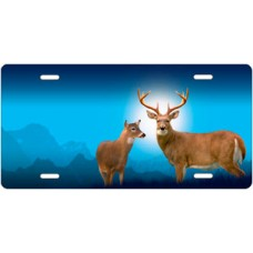 Deer on Blue License Plate