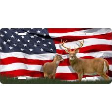Deer on American Flag License Plate