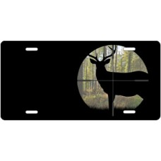 Buck in Crosshair on Black Offset License Plate