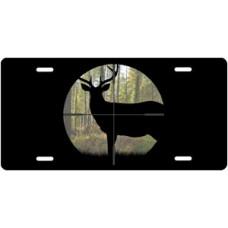 Buck in Crosshair on Black License Plate