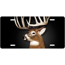 Buck on Black License Plate