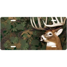 Buck on Camo Offset License Plate