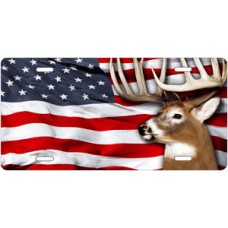 Buck on American Flag Offset License Plate