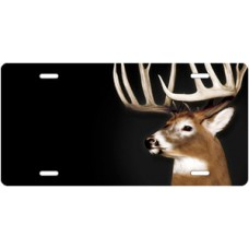 Buck on Black Offset License Plate