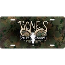 Bones Outdoors Signature Logo on Camo License Plate