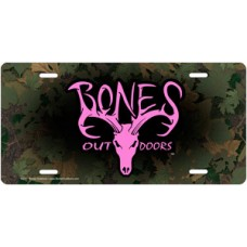 Pink Bones Outdoors Signature Logo on Camo License Plate