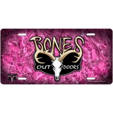 Bones Outdoors Signature Logo on Pink Camo License Plate