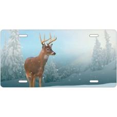 Winter Buck License Plate
