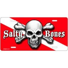 Salty Bones Skull & Crossed Bones Diving License Plate